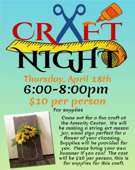 Craft Night April 18th 5:00 pm - 8:00 pm Mason Jar String Art