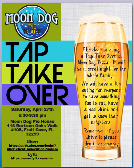 Tap Take Over April 27th  Moon Dog Pie House   5:30 pm- 9:30 pm